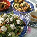 Fantastic Greek salad complete with huge amounts of delish feta ... Chinese fritters with gluten