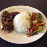 Ginger beef, veggies and rice