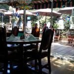 For brunch you can dine inside or on the patio under an umbrella