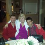 Mother, groom and younger son at rehearsal dinner