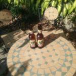 Nice cold beer in gardens just outside our room