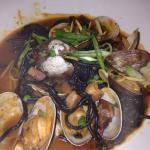 Entryway, super tasty fennel salad and black spaghetti with Manila clams. Doooooope.