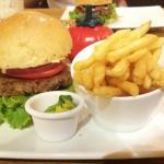 Veggie burger with tsadziki, avo and a little sprinkling of feta