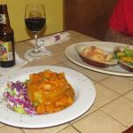 Shrimp mofongo on left, grilled shrimp & veggies on right