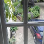 view from bathroom window overlooking garden