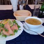 Smoked Salmon Salad and Lamb Soup