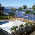 Morning view from lanai, with beach party still set up from night before
