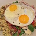 Cobb Salad (greens, roasted corn, peppers, avocado, turkey, bacon, cambozola cheese, fried egg