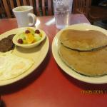 Eggs Over Easy, Sausage, Fruit & Blueberry Pancakes