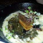 Pork belly with cheddar grits and pickled onion. Must get!