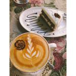 Carrot cake and freshly roasted coffee - specialty coffee.