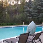Evergreen Lodge HEATED outdoor pool right by the river