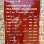 Oxburgh Hall Opening Times at June 2016.