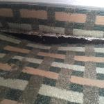There was damage in multiple rooms and it smelt like mold. There was a hole in the wall and in a