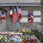 Lafayette's grave on July 4th! The flowers are from the French Senate, the Mayor of Paris, and o