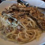 Great tiramisu, chicken pasta, inside.