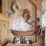 The Hector, the Museum and Quay, wood carvings in the Museum wood shop.