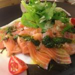 Salmon carpaccio with basil pesto
