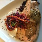 trout with purple sticky rice, red cabbage slaw