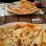 yummy 4 cheeses pizza with added anchovies and a Napolitana with added chives. Fastier that it l