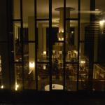 Looking into the restaurant from above.