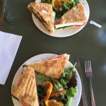 Breakfast Paninis with salad, Smoked Turkey and Brie