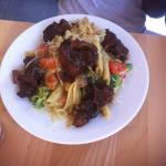 fusion pasta with oxtail entree