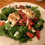 Strawberry Spinach Salad with Grilled Chicken -- fresh and delicious when in season