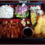 Bento box with teriyaki chicken and shrimp tempura