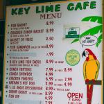 Menu options. The Key Lime food and products are kept inside in the air conditioning.
