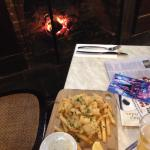 Mmmm ... Tuesday seafood in front of the fireplace.