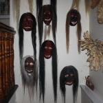 native indian masks adorn the upstairs of home