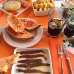 Pan con tomate, Anchovies, Tortilla and Patatas bravas