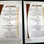Menu du restaurant Colonial