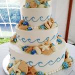 Ocean Waves Crashing Wedding Cake