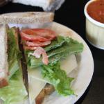 Turkey sandwich and Manhattan Clam Chowder