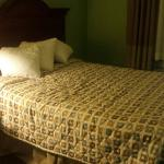 Picture of our sunken bed with 3 throw pillows ( don't use regular size pillows)