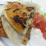 Spicy pepper jack quesadilla with carne asada