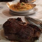 Bone in New York steak and lobster mashed potatoes