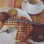 Belgian waffles with coffee