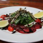 The springbok carpaccio is a must! Excellent flavor with the balsamic glaze drizzled on top.