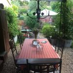 Communial outdoor dining area