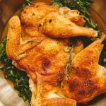Chicken Under a Brick w/broccoli rabe