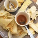 Apple and cheese plate with honey