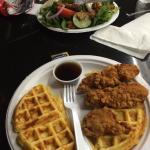 Chicken waffle sandwich, salad, and sandwich