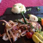 Fresh grilled squid with veggies and rice