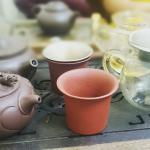 Close view of tea pots