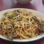 Pasta al vongole which is highly recommended when found as a specialty of the day