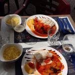 poisson du jour (merlu) semoule et legumes coucous