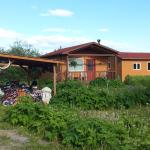 One of the cottages and the bike garage